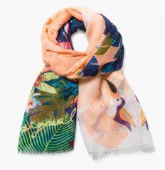 Desigual dámský vícebarevný šátek Rectangle Tropicla Fly