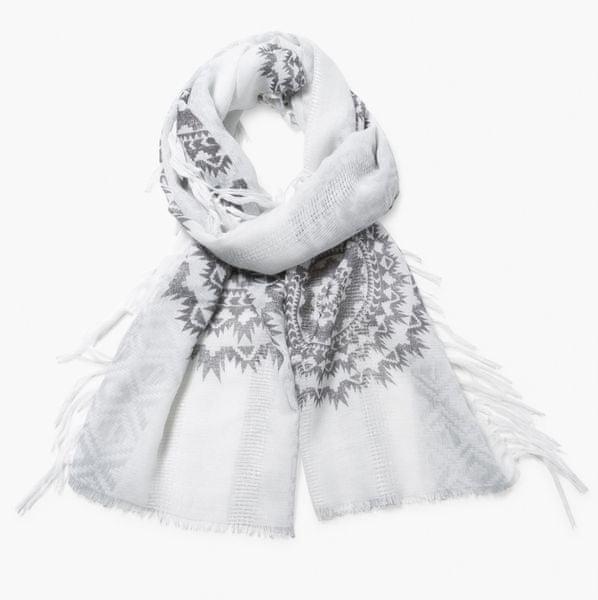 Desigual dámský bílý šátek Rectangle White Silve