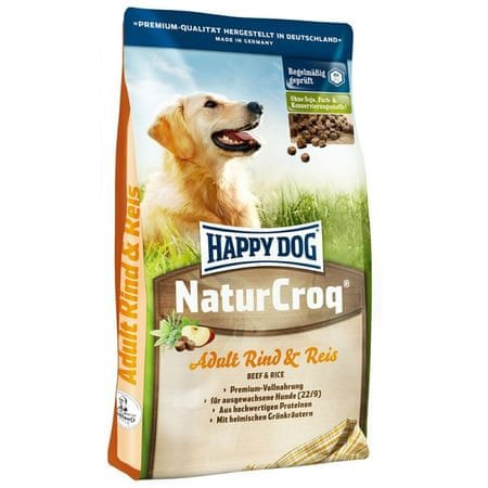 Happy Dog suha hrana za odrasle pse NaturCroq, govedina in riž, 15 kg
