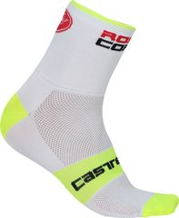 Castelli Rosso Corsa 6 Sock White/Yellow Fluo