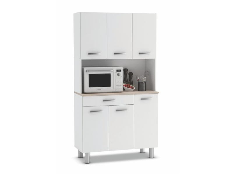 PESTA, kuchyňská skříňka, bílá/akát