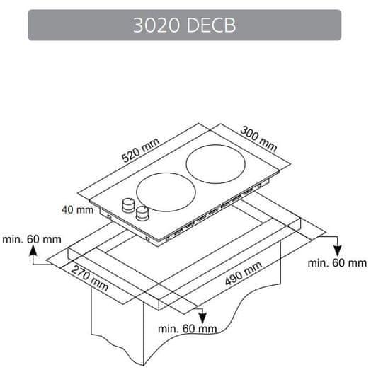 Simfer steklokeramična kuhalna plošča 3020 DECB