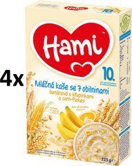 Hami Kaše mléčná s banány, křupinkami a corn-flakes - 4 x 225g