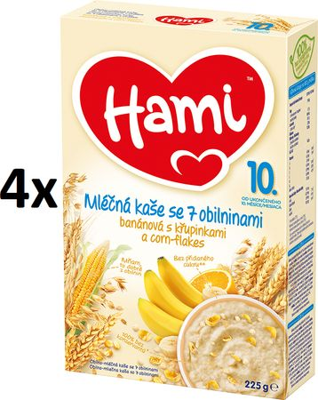 Hami Kaša mliečna s banánmi, chrumkami a corn-flakes - 4 x 225g