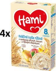 Hami Kaše mléčná vanilková s ovocem a rýžovými křupinkami 4 x 225g