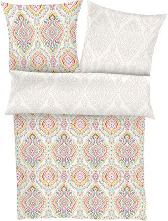 Zeitgeist bombažna satenasta posteljnina 5097, bela z barvitim vzorcem
