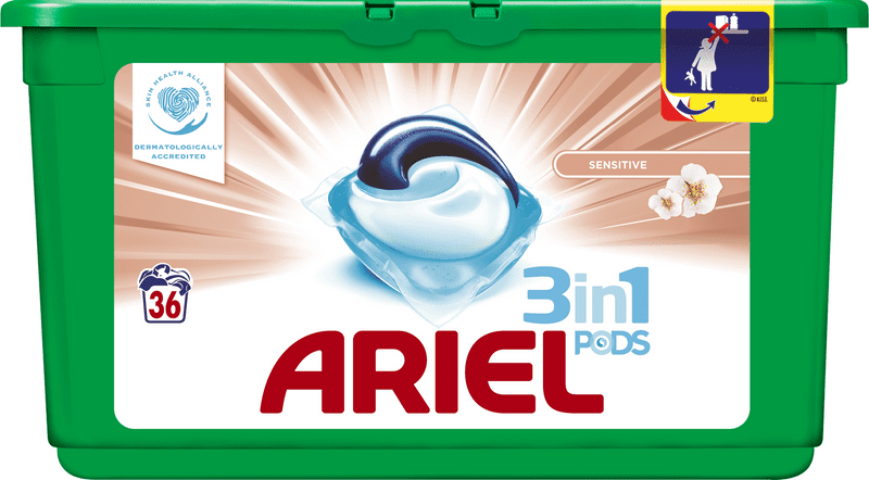Ariel Sensitive 3v1 gelové kapsle 36 ks