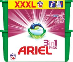 Ariel Touch of Lenor 3v1 gélové kapsuly 56 ks