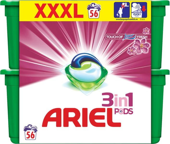 Ariel Touch of Lenor 3v1 gelové kapsle 56 ks