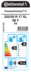 Continental pneumatik PremiumContact 6 225/50R17 98Y XL FR