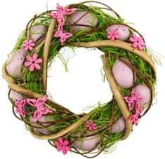 Seizis Velikonočni venec iz olupljenega lubja, roza