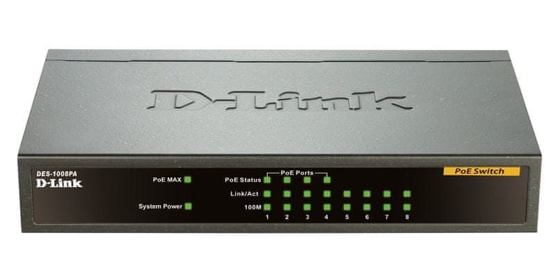 D-Link DES-1008PA 8-port 10/100 Desktop Switch