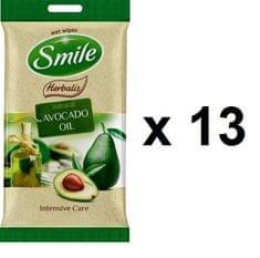 SMILE Herbalis vlažilni robčki - Avokadovo olje, 13x10 kosov