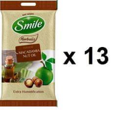 SMILE Herbalis vlažilni robčki - olje Makadamije, 13x10 kosov
