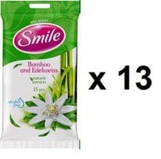 SMILE vlažne maramice Bamboo, 13x15 kom