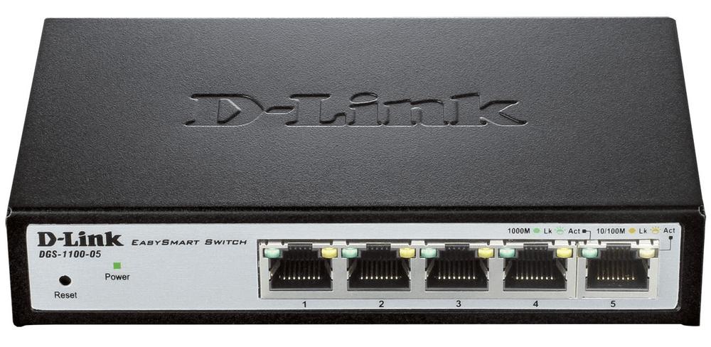 D-Link DGS-1100-05 5-Port Gigabit Smart Switch, fanless