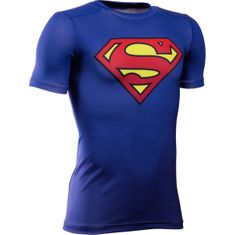 Under Armour otroška športna majica DC Comics Baselayer, modra