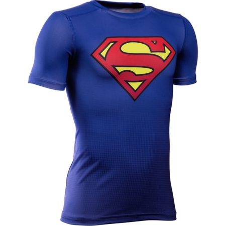 Under Armour otroška športna majica DC Comics Baselayer, modra, M