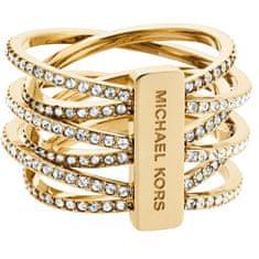 Michael Kors Pozlátený oceľový prsteň s kryštálmi MKJ4422710