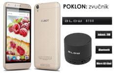 Cubot telefon Manito LTE, zlatna + poklon: BT zvučnik Blow