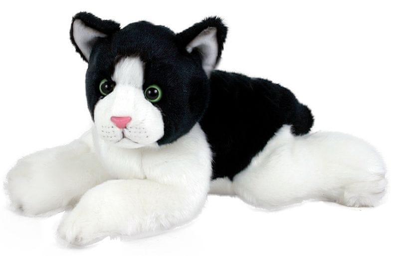 Rappa Plyšová kočka černo-bílá, ležící, 28 cm