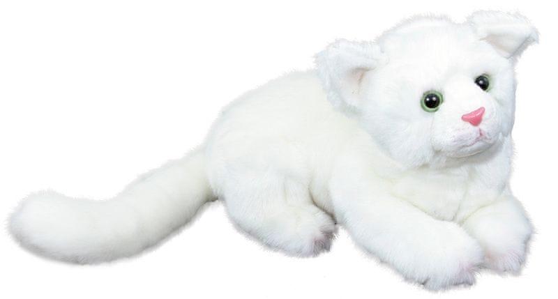 Rappa Plyšová kočka bílá, ležící, 26 cm