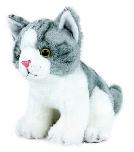 Rappa Plyšová kočka šedo-bílá, sedící, 18 cm