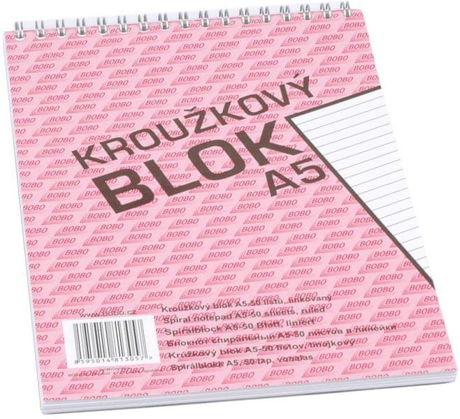 Blok kroužkový s horní spirálou BOBO A5 linkovaný, 50 listů