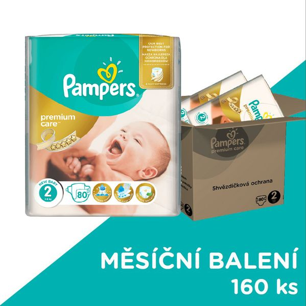 Pampers Pleny Premium Care 2 (Mini) 3-6 Kg - 160 ks
