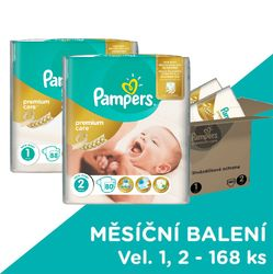 Pampers Premium Care Pieluchy 1 Newborn + 2 Mini 168 szt.