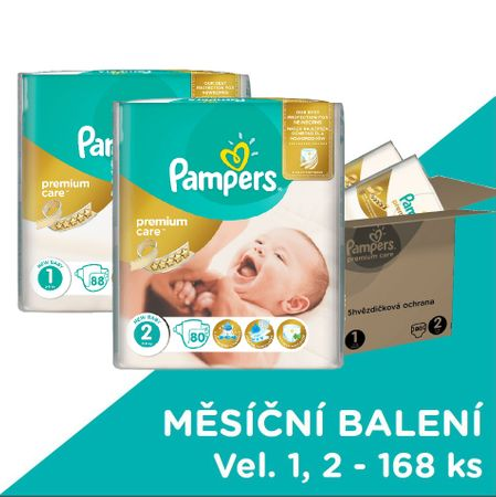 Pampers plenice Premium Care velikosti 1 in 2, 168 kosov