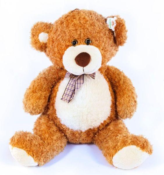 Teddies Medvěd plyš 80 cm světle hnědý s mašlí