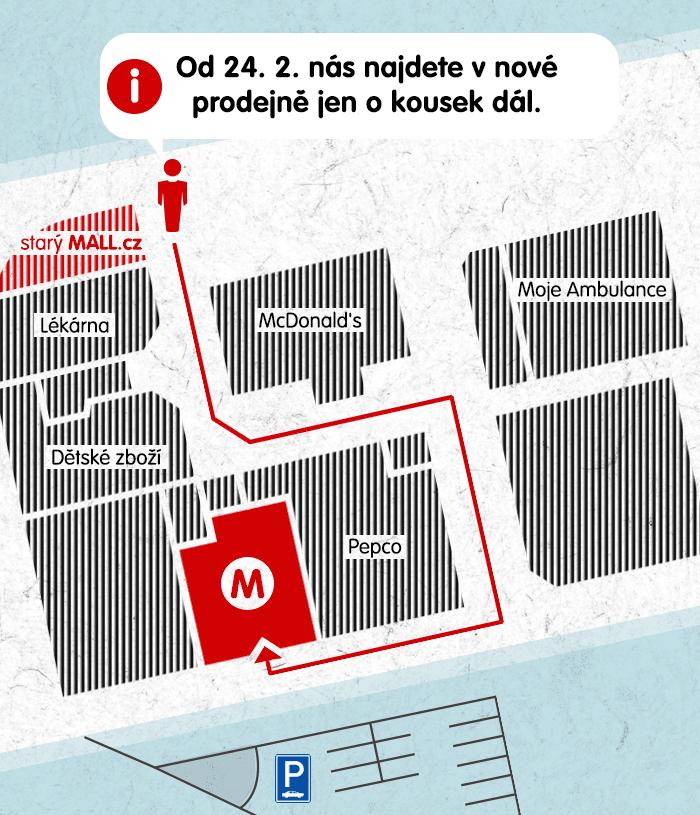 Stěhování MALL.cz prodejny Plzeň