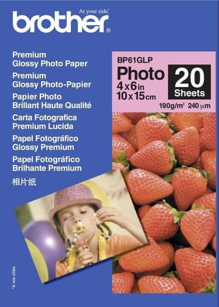 Brother fotopapír premium Glossy BP61GLP 10 x 15, 20ks