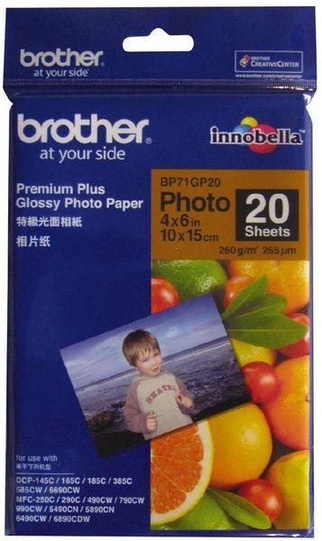 Brother fotopapír premium Glossy BP71GP20 10 x 15, 20ks
