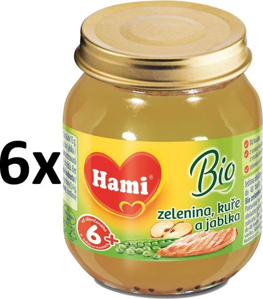 Hami BIO Zelenina s kuřetem a jablky - 6 x 125g