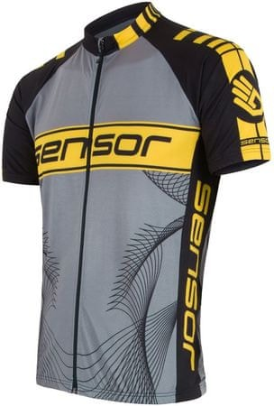 Sensor moška majica Cyklo Team, črna/rumena, XL