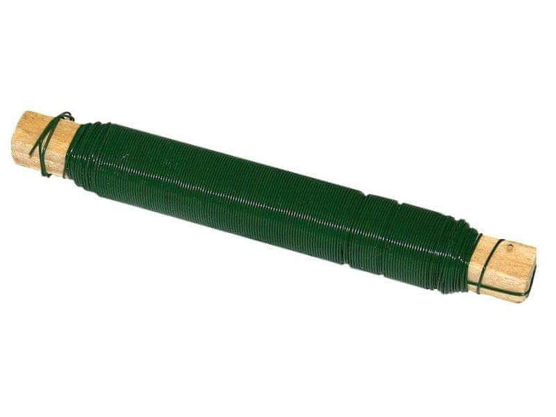 Vázací drát lakovaný, 0,65/0,1 kg, zelený, motaný na dřívku