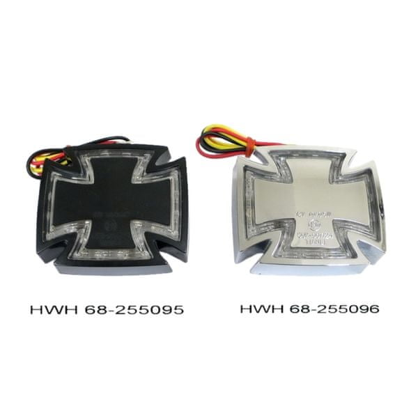 Highway-Hawk koncové moto světlo GOTHIC s LED, E-mark, chrom (1ks)