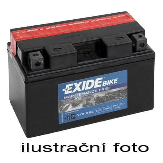 Exide bezúdržbová AGM baterie YTZ10S-BS, 12V 8,6Ah, za sucha nabitá. Náplň součástí balení.