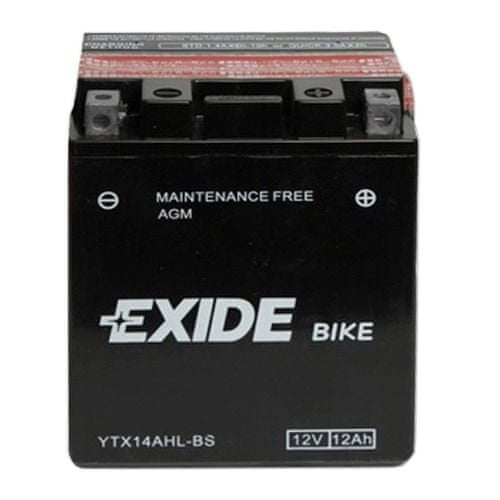 Exide bezúdržbová AGM baterie YTX14AHL-BS, 12V 12Ah, za sucha nabitá. Náplň součástí balení.