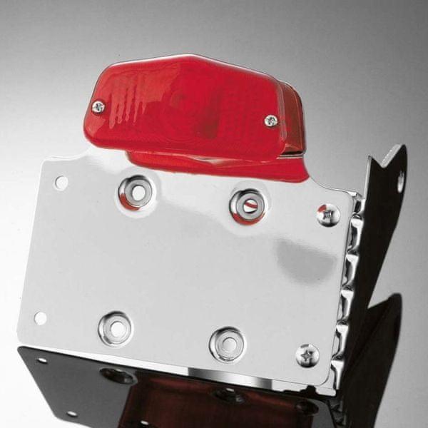Highway-Hawk koncové světlo na motorku s držákem SPZ LUCAS s boční montáží, E-mark, chrom (1ks)