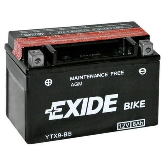 Exide bezúdržbová AGM baterie YTX9-BS, 12V 8Ah, za sucha nabitá. Náplň součástí balení.