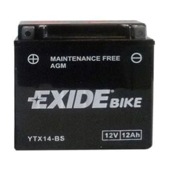 Exide bezúdržbová AGM baterie YTX14-BS, 12V 12Ah, za sucha nabitá. Náplň součástí balení.