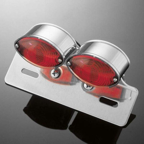 Highway-Hawk koncové dvojité světlo na motorku MINI CATEYE s držákem SPZ, E-mark, chrom (sada)