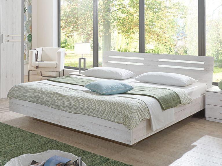 SUZAN, postel 180x200 cm, bílý dub