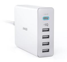 Anker stolni punjač PowerPort+ 5 60W 1 x USB C, 4 x PowerIQ, crni