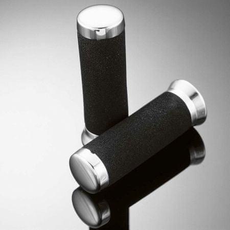 Highway-Hawk penové gripy 25mm  FOAM, čierna/chróm (2 ks)