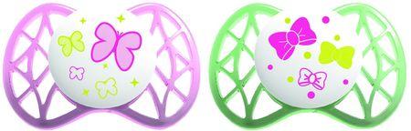 Nuvita Malé symetrické dudlíky 0m+, Pink and Green