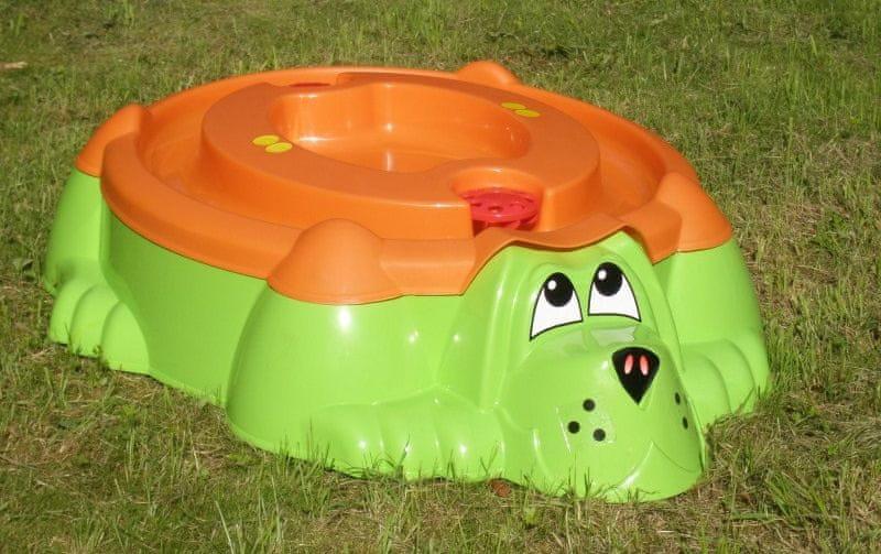 Marian Plast Pískoviště-bazének Pes s krytem zelená/oranžová